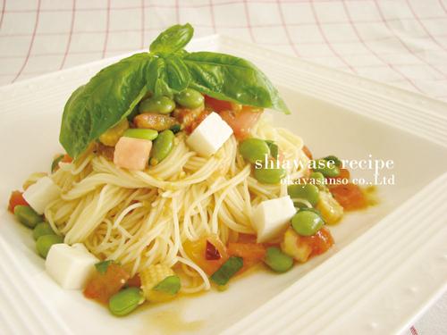 夏野菜の冷たいパスタ
